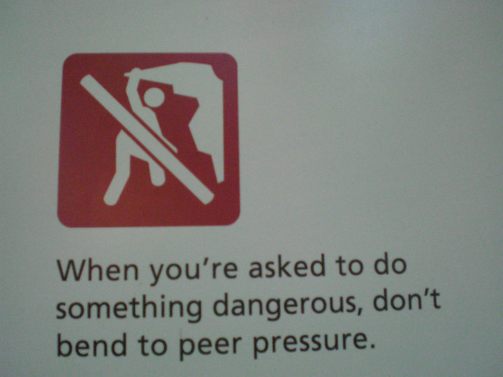 This is a real sign at Lynn Canyon! Don't bend to peer pressure! DO NOT BEND!